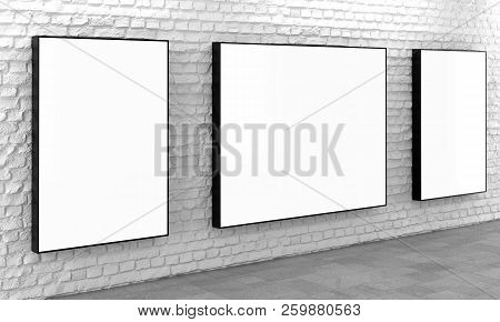 Blank Billboard Lightboxes Or Lcd Screens On White Brick Wall. Empty Street Advertising Signboards.