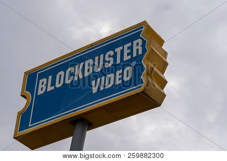 August 12 2018 - Fairbanks, Ak: Sign Of A Blockbuster Video Rental Stores Still In Operation, Agains