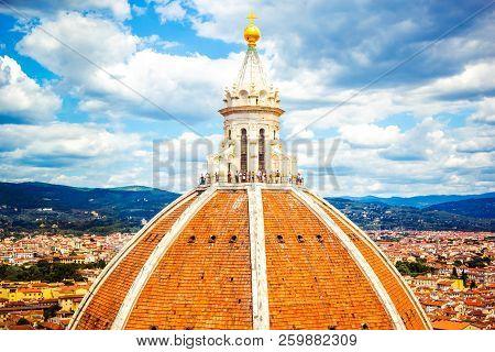 Famous Big Cupola Del Brunelleschi On Cattedrale Di Santa Maria Del Fiore (cathedral Of Saint Mary O