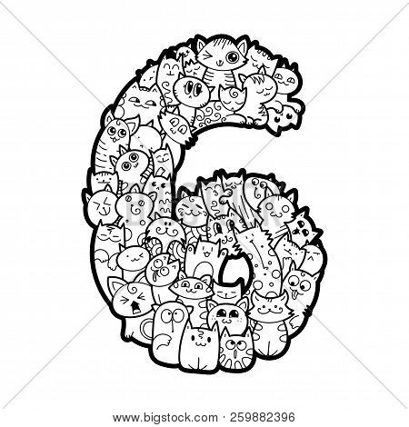 Number Six. Hand Drawn Doodled Kids Numbers. Cute Monstred Numbers, Math Symbols. Vector Illustratio