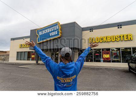 August 12 2018 - Fairbanks Alaska: Adult Customer Wearing A Commemorative Blockbuster Video Hoodie S