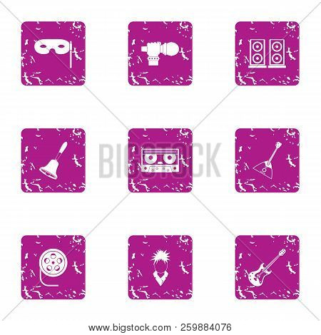 Melodic Icons Set. Grunge Set Of 9 Melodic Vector Icons For Web Isolated On White Background