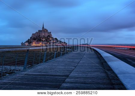 French Landscape - Normandie. The Mont Saint Michel At Sunrise.