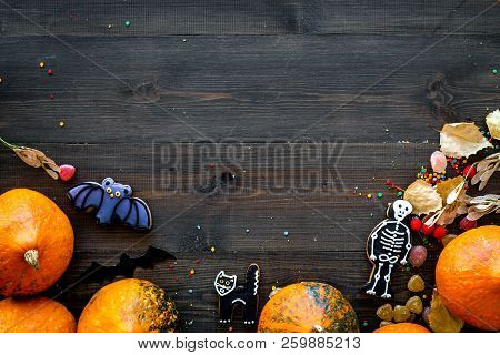 Halloween Concept, Halloween Mood. Pumpkins And Cute Figures Of Halloween Evils. Skeleton, Bats. Dar