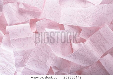 Soft Toilet Paper As Background, Top View. Personal Hygiene