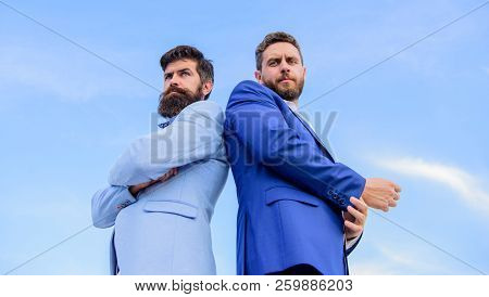 Business Men Stand Back To Back Blue Sky Background. Impeccable Appearance Improves Reputation Profe