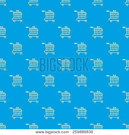 Economy Trolley Pattern Vector Seamless Blue Repeat For Any Use