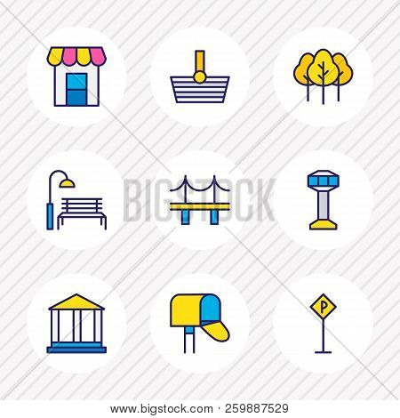 Vector Illustration Of 9 Urban Icons Colored Line. Editable Set Of Academy, Parking Sign, Storefront