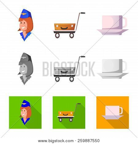 Vector Illustration Of Airport And Airplane Icon. Collection Of Airport And Plane Stock Symbol For W