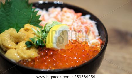 Close-up Images Of Japanese Seafood Rice Bowl