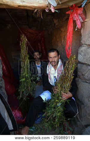 Sanaa, Yemen - March 14, 2010: Unidentified Dealers Of Khat (catha Edulis) Shown In Sanaa, Capital O