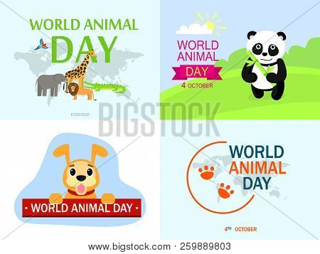 World Animal Day Banner Set. Flat Illustration Of World Animal Day Vector Banner Set For Web Design