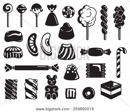 Candy Icon Set. Simple Set Of Candy Vector Icons For Web Design On White Background
