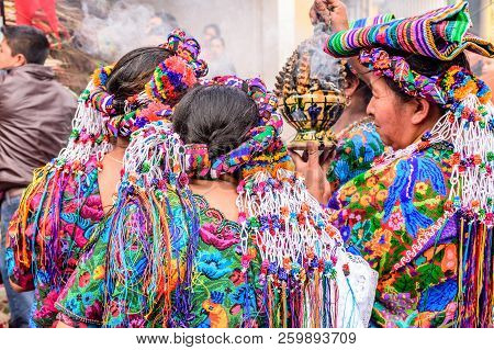 Parramos, Guatemala - December 29, 2016: Local Indigenous Women Dressed In Ceremonial Headdresses &