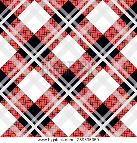 Menzies Tartan Black Red Kilt Diagonal Fabric Texture Background Seamless Pattern.vector Illustratio