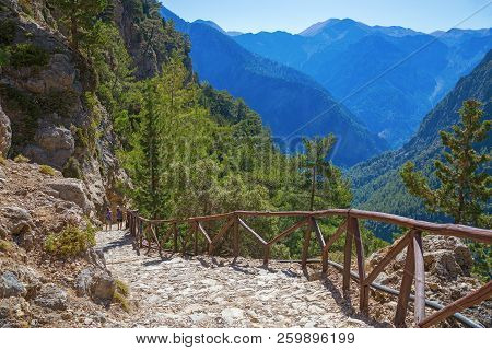 National Park Of Samaria, Grecce, Island Crete. Gorge Samaria. Magnificent View The Top Of The Mount