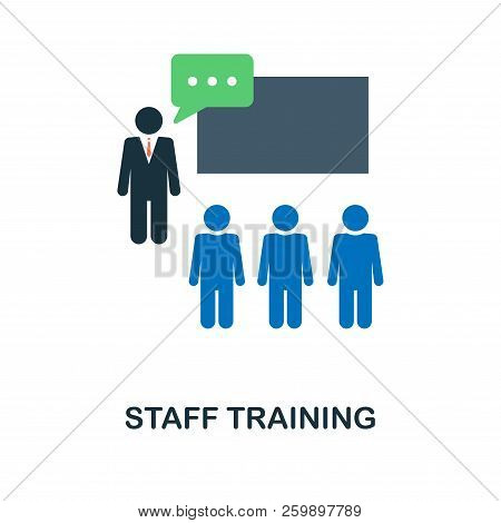 Staff Training Flat Icon. Monochrome Style Design From Online Education Icon Collection. Ui And Ux.