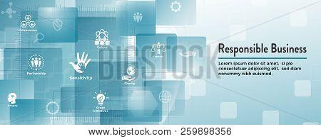 Social Responsibility Web Banner Icon Set & Web Header Banner W Honesty, Integrity, Collaboration, E