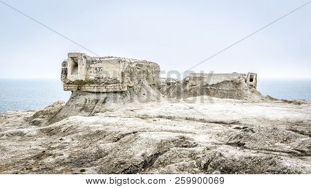 Excavated Fortifications From Second World War, Feodosia, Crimea, Russia. Panoramic View Of Ruins On