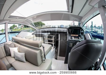 NORWALK, CT, USA-SEPTEMBER 20, 2018: Seat with control panel are from Pershing 5X displayed on  Progressive Norwalk Boat Show 2018.