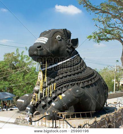 Nandi, Shiva?s vehicle, chamundi hill, built in 1659, Mysore, India poster