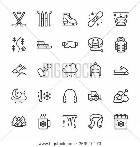 Winter sports line icons. Cold weather outdoor activities skiing, hockey, snowboard, snowball game, snow removal vector illustrations. Signs for equipment store. Pixel perfect 64x64 Editable Strokes poster