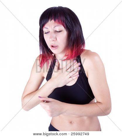 expressive portrait of woman who has chest pain, studio shot