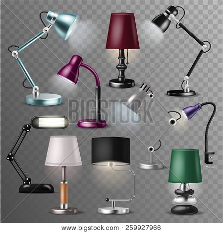 Table Lamp Vector Desklamp And Realistic Reading-lamp For Electric Lighting Decoration In Office Or