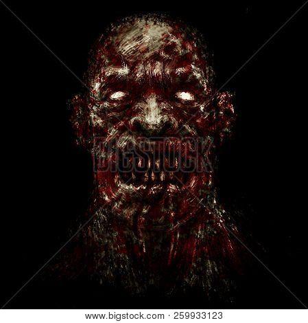 Scary Demon Face. Illustration In Genre Of Horror. Black Background Color.