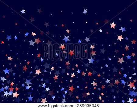 American Presidents Day Stars Background. Holiday Confetti In Us Flag Colors For President Day.  Ban