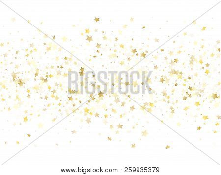 Magic Gold Sparkle Texture Vector Star Background. Chic Gold Falling Magic Stars On White Background