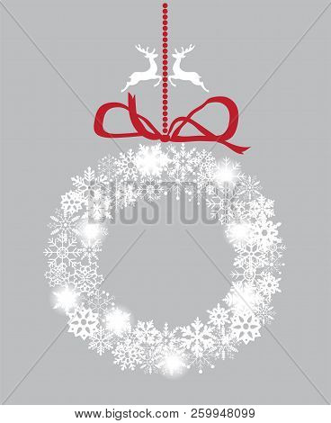 Vector Illustration Of A Snowflake Wreath. Christmas Background.
