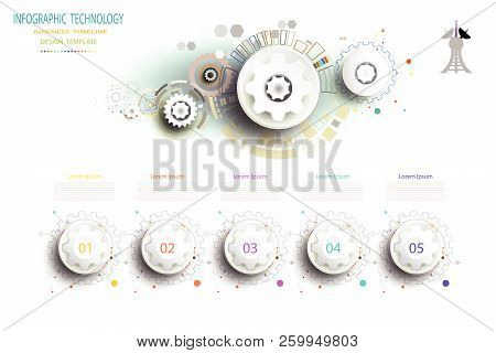 Infographics Template Technology Gear Wheel Engineering On Circuit Board, Vector Illustration Digita