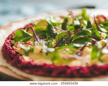 Beetroot Pizza Crust With Fresh Swiss Chard Or Mangold, Beetroot Leaves. Ideas And Recipes For Vegan