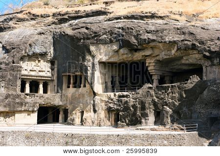 Facade of ancient Ellora rock carved Buddhist temple, Aurangabad, Maharashtra, India