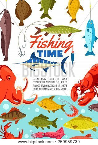 Fishing Sport Vector Poster, Time To Fishery. Fish And Octopus, Crayfish And Crab, Squid And Shrimp,