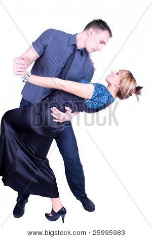 Elegant and happy romantic dancing couple , isolated on white