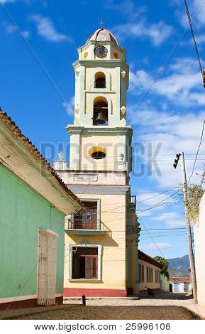 The bell tower of the Museum Nacional de la Lucha Contra Bandidos. It was Convento de San Francisco church before,  Trinidad, Cuba.
