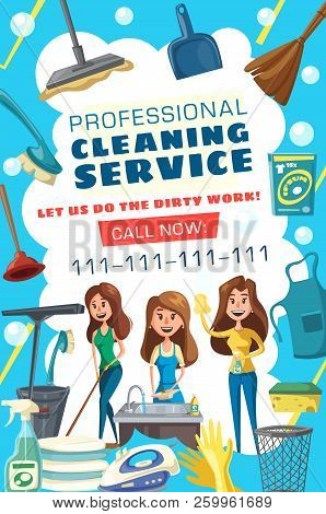Cleaning And Housework Service. Woman Washing, House Cleaning, Laundry And Cooking. Housekeeping And