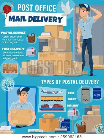 Post Office Delivery Service, Vector. Postage Logistic, Postman Courier And Packed Boxes Delivered B