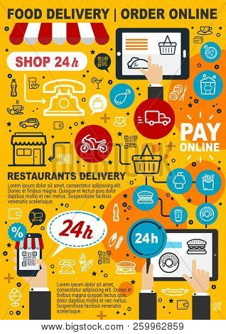 Food Delivery Service. Order And Pay Online, Mobile Shopping Food And Drink Icons. Buy Products Via