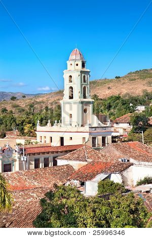 Panorama view on the bell tower of the Museum Nacional de la Lucha Contra Bandidos. It was Convento de San Francisco church before,  Trinidad, Cuba.