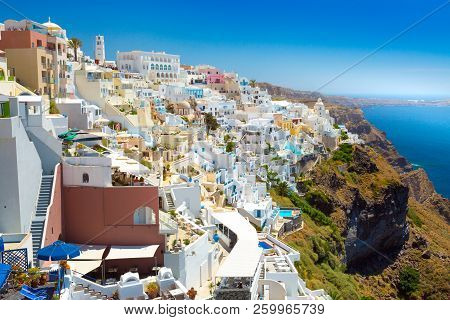 View Of Thera The Most Beautiful Village Of Santorini Island In Greece.