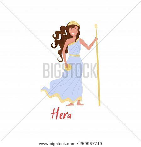 Hera Olympian Greek Goddes, Ancient Greece Myths Cartoon Character Vector Illustration On A White Ba