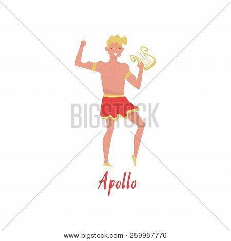 Apollo Olympian Greek God, Ancient Greece Myths Cartoon Character Vector Illustration On A White Bac