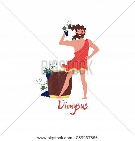 Dionysus Olympian Greek God, Ancient Greece Myths Cartoon Character Vector Illustration On A White B