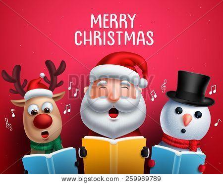 Christmas Vector Characters Like Santa Claus, Reindeer And Snowman Singing Christmas Carols Holding