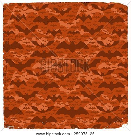 Halloween Grunge Pattern With Dark Flying Pipistrelles On Red Background Flat Vector Illustration