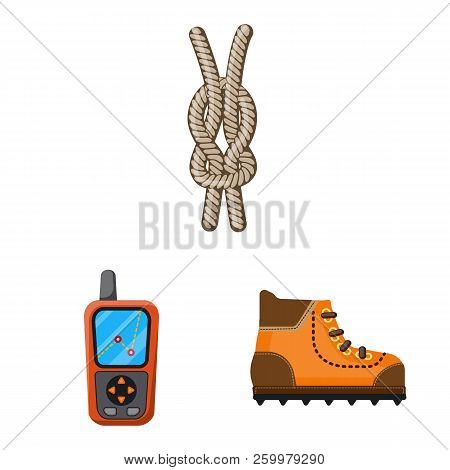 Isolated Object Of Mountaineering And Peak Symbol. Set Of Mountaineering And Camp Stock Vector Illus