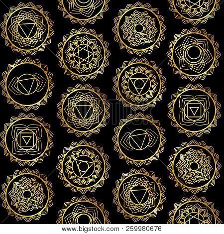 Mandala, Seamless Tribal Pattern Indian Medallion, Kaleidoscope. Background Bohemian, Decorative Orn